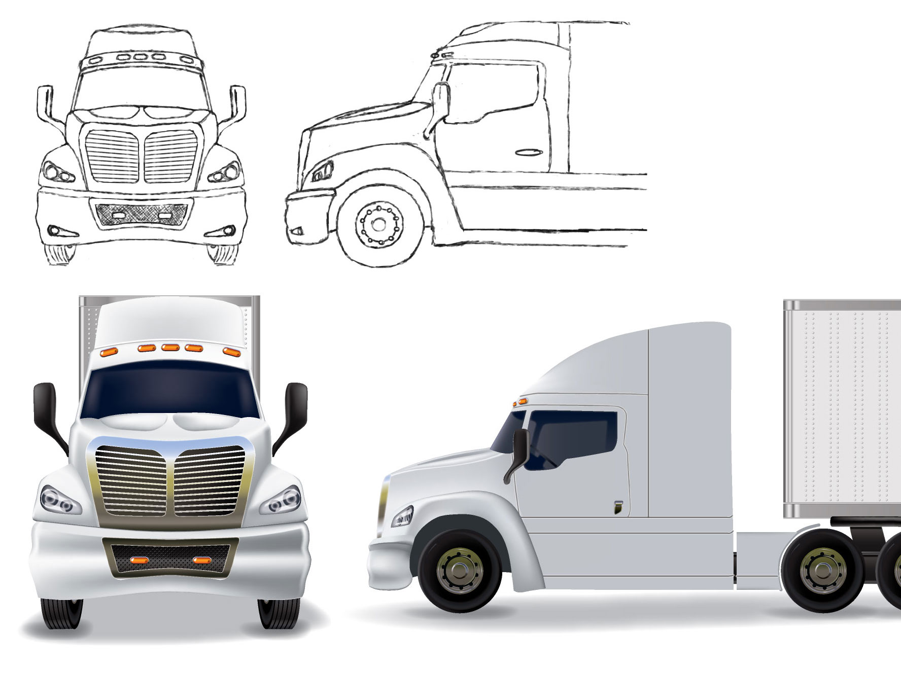 Tractor Trailer – Sketch and vector rendering