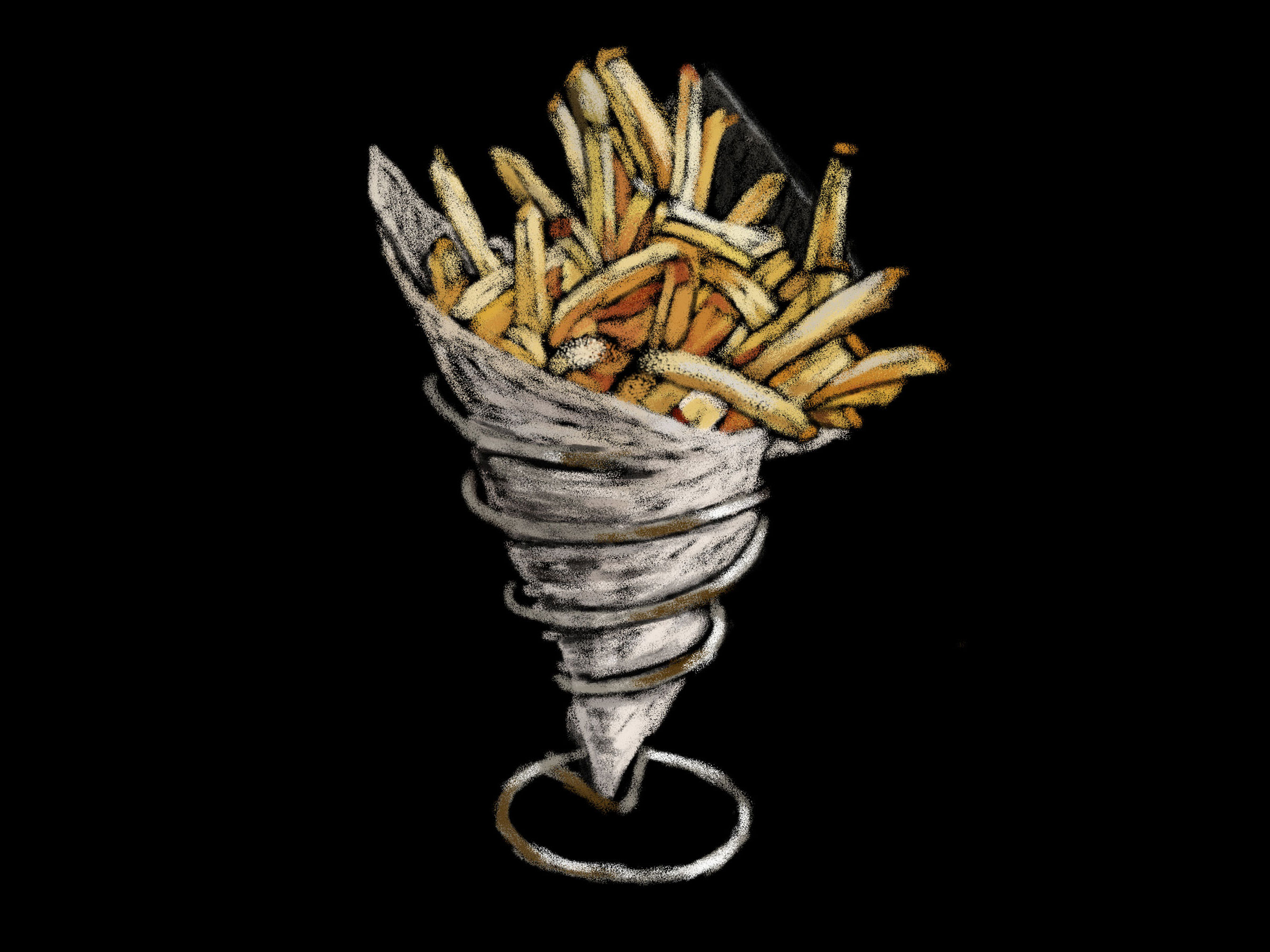 Chalk Drawing of French Fries